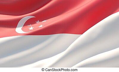Waved highly detailed close-up flag of Singapore. 3D illustration.