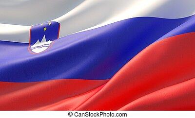 Waved highly detailed close-up flag of Slovenia. 3D illustration.