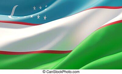 Waved highly detailed close-up flag of Uzbekistan. 3D illustration.