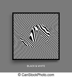 Waveform background. Surface distortion. Pattern with optical illusion. Vector striped illustration. Black and white sound waves. Cover design template.