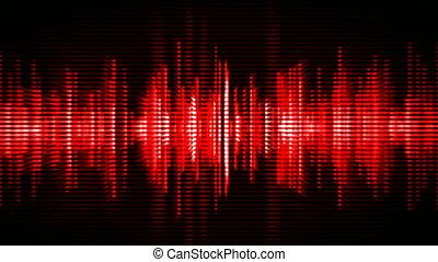 waveform, czerwony, wysoki-tech