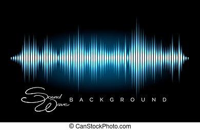 waveform, estéreo, áudio, cartaz