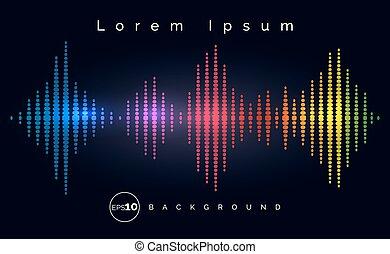 waveform, estéreo, equalizador, cartaz