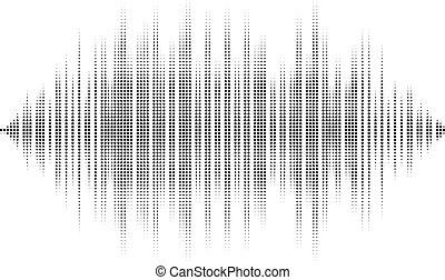 waveform, háttér, isolated., fekete-fehér, halftone, vektor,...