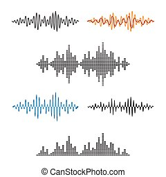 Waveform Shape. Soundwave. Audio Wave Graph Set. Vector