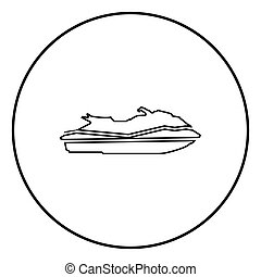 Waverunner icon black color in circle round