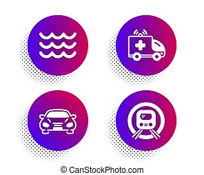 Waves, Ambulance car and Car icons set. Metro subway sign. Water wave, Emergency transport, Transport. Vector