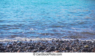 Waves and pebble beach - Soft sea waves and pebble beach