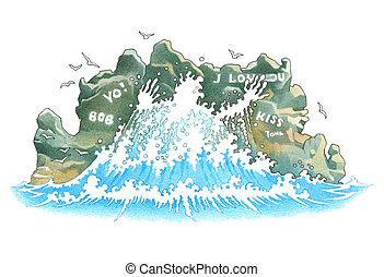 Waves and rocks - Waves erase inscriptions on rocks