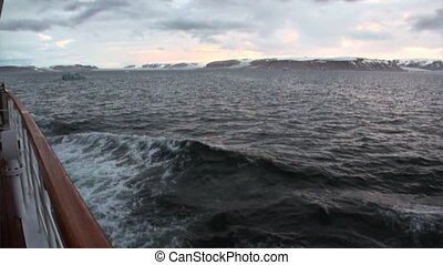 Waves and water surface view from bow ship in Arctic Ocean...