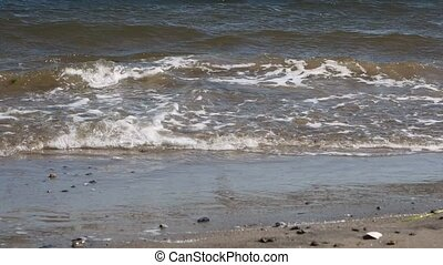 Waves arriving at a beach with no people, with strong wind