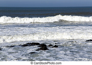 Waves ashore the winter Atlantic ocean in Casablanca, ...