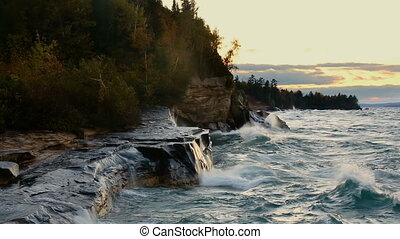 Waves at Paradise Loop - Lake Superior Michigan Coast -...