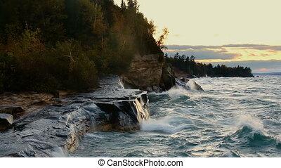 Waves at Paradise Loop - Lake Superior Michigan Coast -...