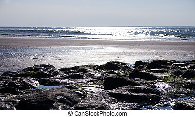 stony beach - waves at stony beach (north sea)