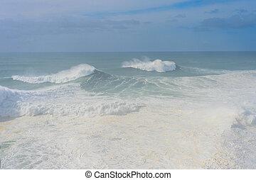 Waves Atlantic ocean mist Portugal