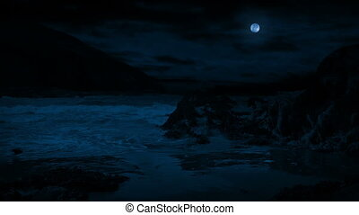 Waves Break On Rocky Beach In The Moonlight