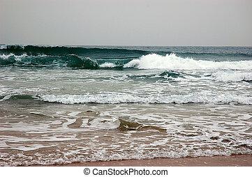 Waves break on shore in bad weather