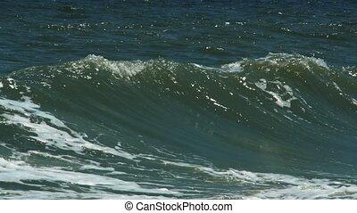 Waves breaking on a seashore - Powerful rollers or waves...