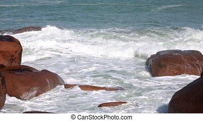 Waves Breaking on Coastal Stone - Waves breaking on coastal...