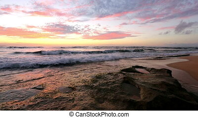 waves breaking on rocks close to Sunset beach, Oahu, Hawaii...