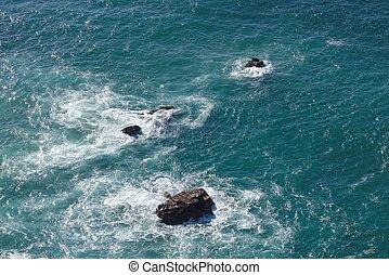 Waves breaking on rocks in sea