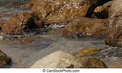 Waves breaking on rocks