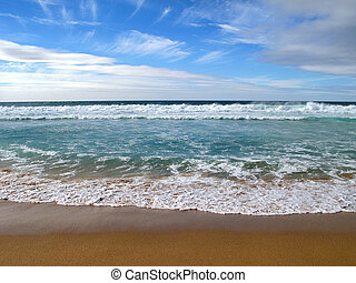 Waves breaking on shore of the sea