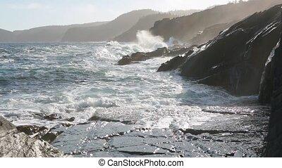 Newfoundland coastline - Waves breaking on the Newfoundland...