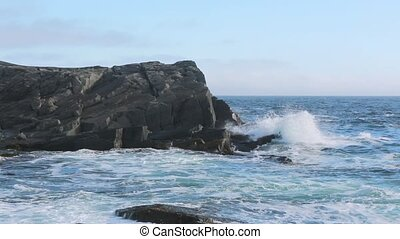 Waves breaking on the Newfoundland coastline.