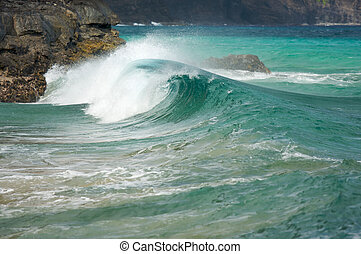Waves Crash on the Rocks