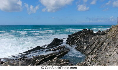 waves crash rocks background Horizon Blue Sky sea scape -...