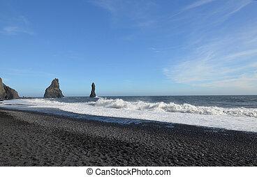 Waves Crashing Ashore at Reynisfjara Beach in Iceland