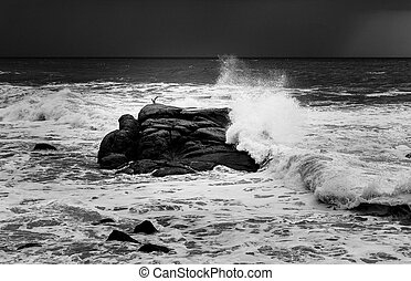 Waves Crashing in Rock