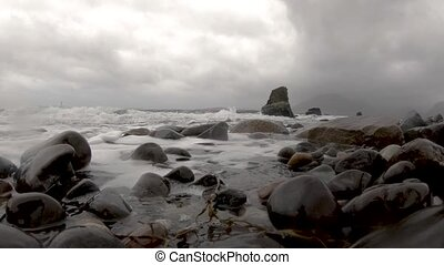 Waves crashing into the camera at Elgol - Isle of Skye, ...