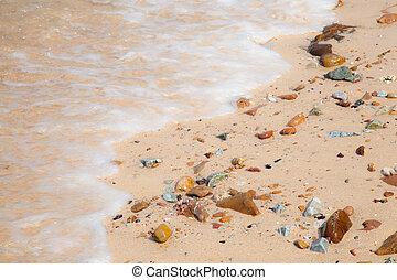 Waves crashing on a beach.