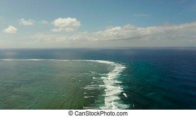 Waves crashing on a coral reef. - Big waves crashing on the...