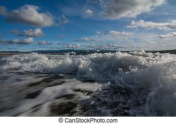 Waves crashing on a Newfoundland beach