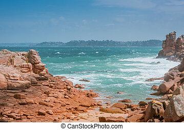 waves crashing on rocks, Bretagne, France