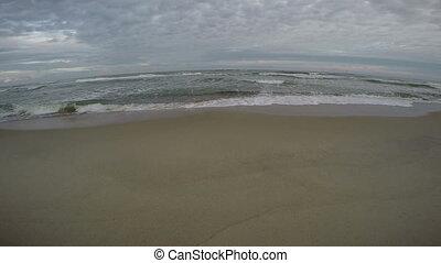 Waves crashing on shore, 4K