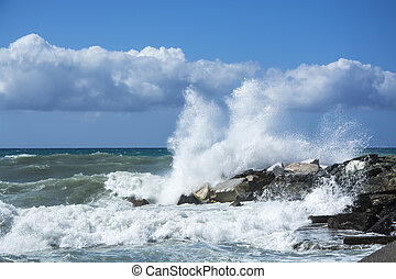 waves crashing on the rocks