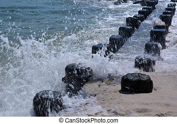 Waves Crashing onto Bulkhead