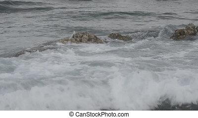 Waves Crashing over Submerged Rock