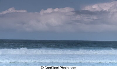 Waves Crashing Towards Camera - Steady, wide shot of waves...
