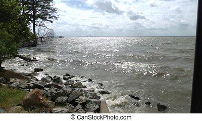 waves crashing wide shot