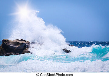 Waves crushing into the rocks