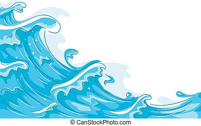 Waves - Illustration of Waves Splashing Against a White...