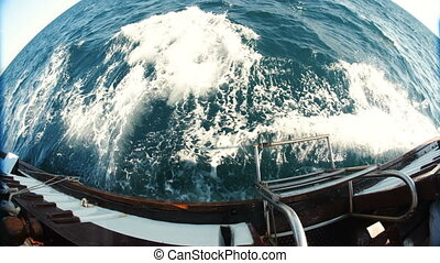 Waves From a Floating Ship - view from the ship at sea. Slow...