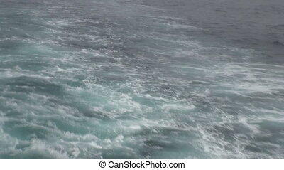 Waves from ship in ocean of Arctic. Travel in calm and ...