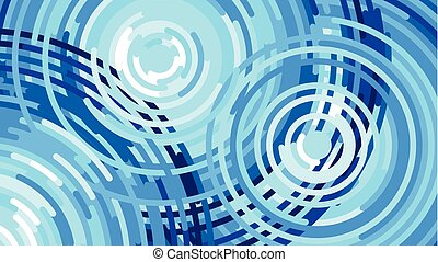 Waves from the rain, water drop, Vector flat illustration